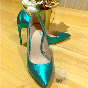 ZARA Metallic Aqua Stiletto Pump
